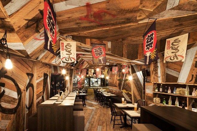 Party At This Aggressive Japanese Style Bar In Montreal Restaurant Design Japanese Restaurant Design Izakaya