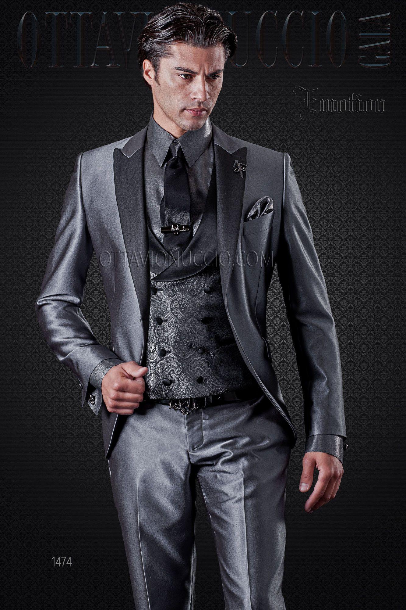 Grey men tuxedo with jacquard vest