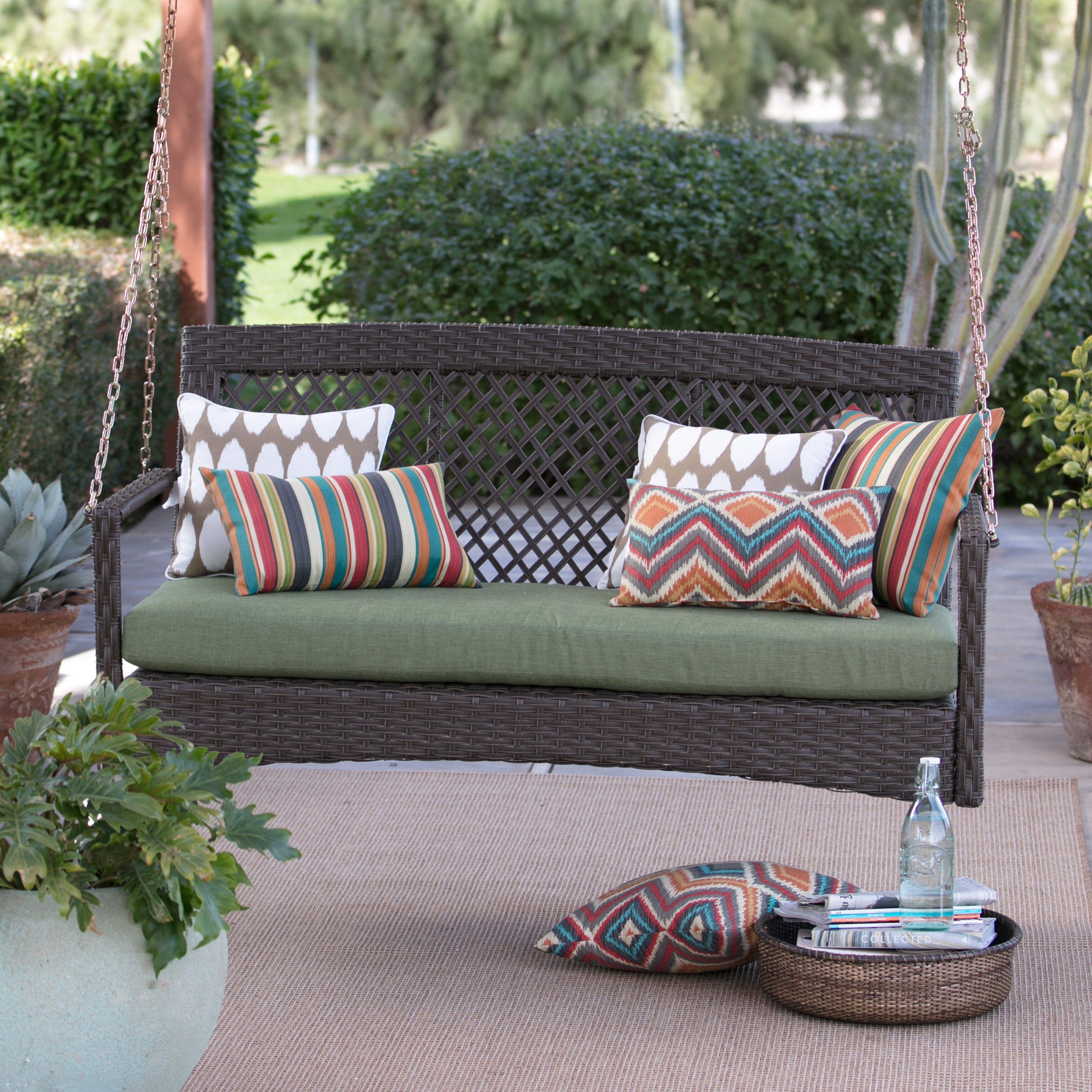 Belham Living Asheville 4 Ft Resin Wicker Porch Swing With Cushion