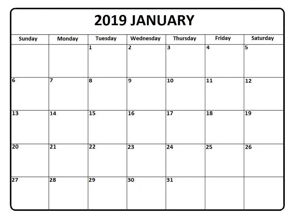 January 2019 Calendar Free Printable January 2019 Calendar