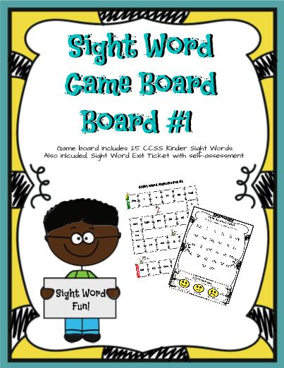 Sight Word Game Board Kinder Set 1 | Kindergarten Classroom | Pinterest
