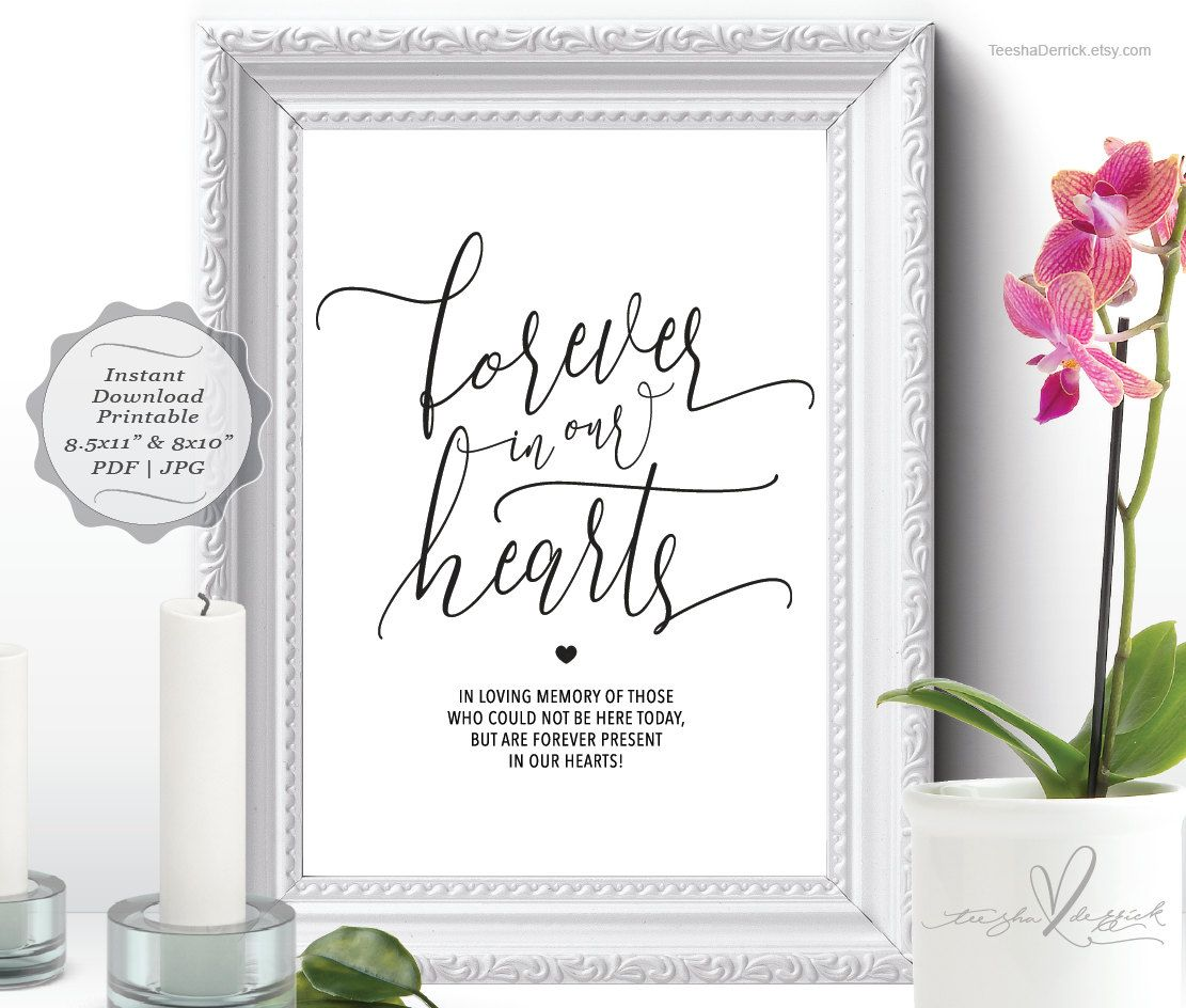 forever in our hearts sign, (c0333) instant download printable in, Powerpoint templates
