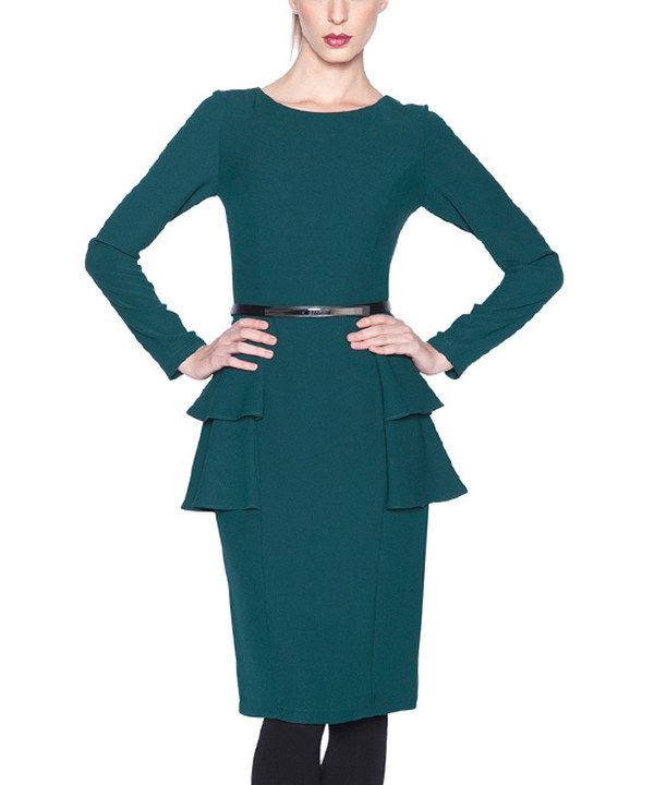 Look at this Dark Green Belted Tiered Peplum Sheath Dress on #zulily today!