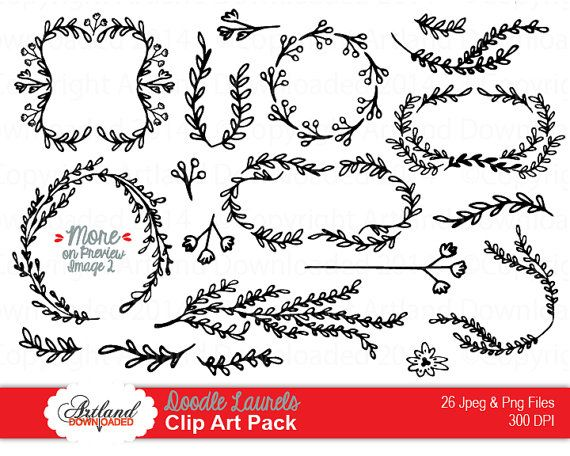 Hand Drawn Doodle Laurels Vine Leaf Wreath Frames Borders Corners ...