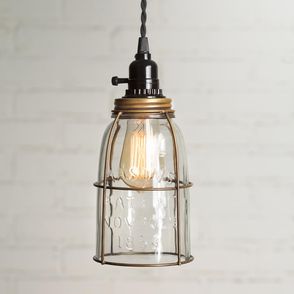 Antique Brass Half Gallon Caged Mason Jar Pendant Lamp Mason Jar