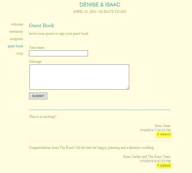 This Is You Wedding Website Guestbook With The Option To Remove