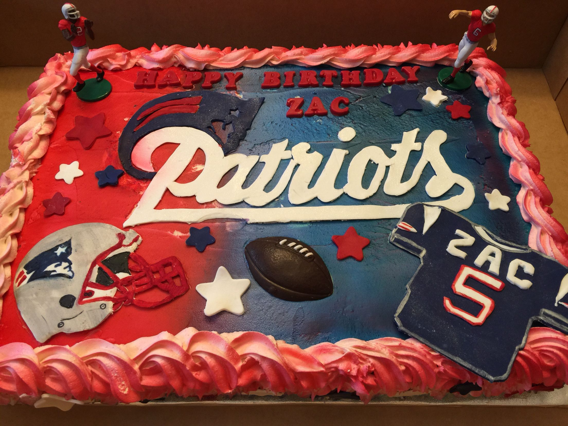 New England Patriots Birthday Cake Jilly Bean Bakes Pinterest