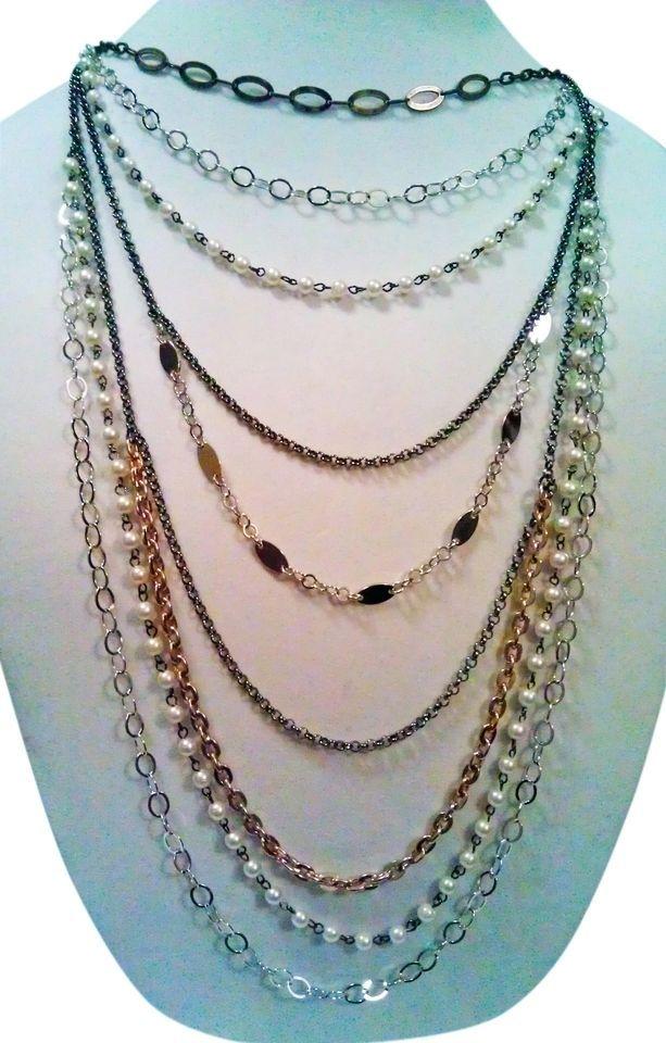Mixit Designer Series Chandelier Pearl Silver Gold Copper Statement Necklace #Mixit #Statement