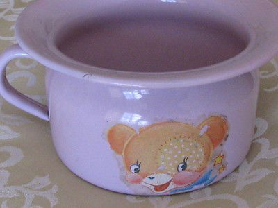 REDUCED! Vintage Enamel Baby/Child Chamber Pot: Lavender-Pink, Decals, GERMANY