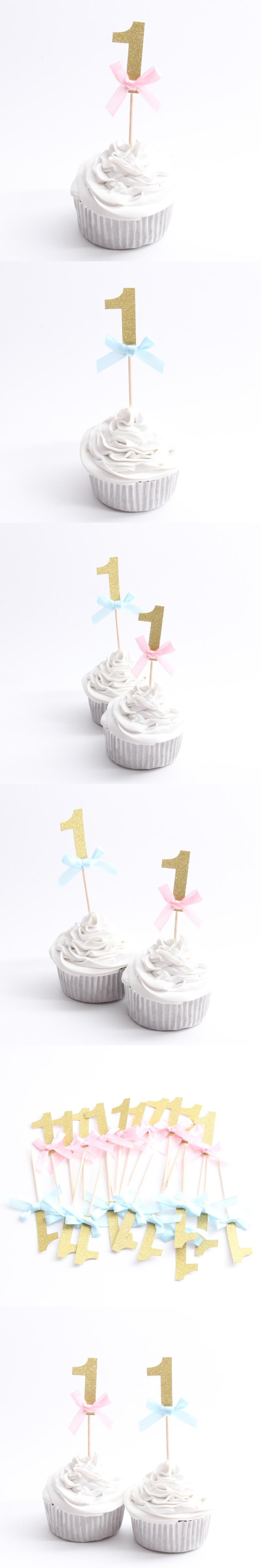 10pcs/lot Gold 1 Cupcake Topper Theme Cartoon Party Supplies Kids ...