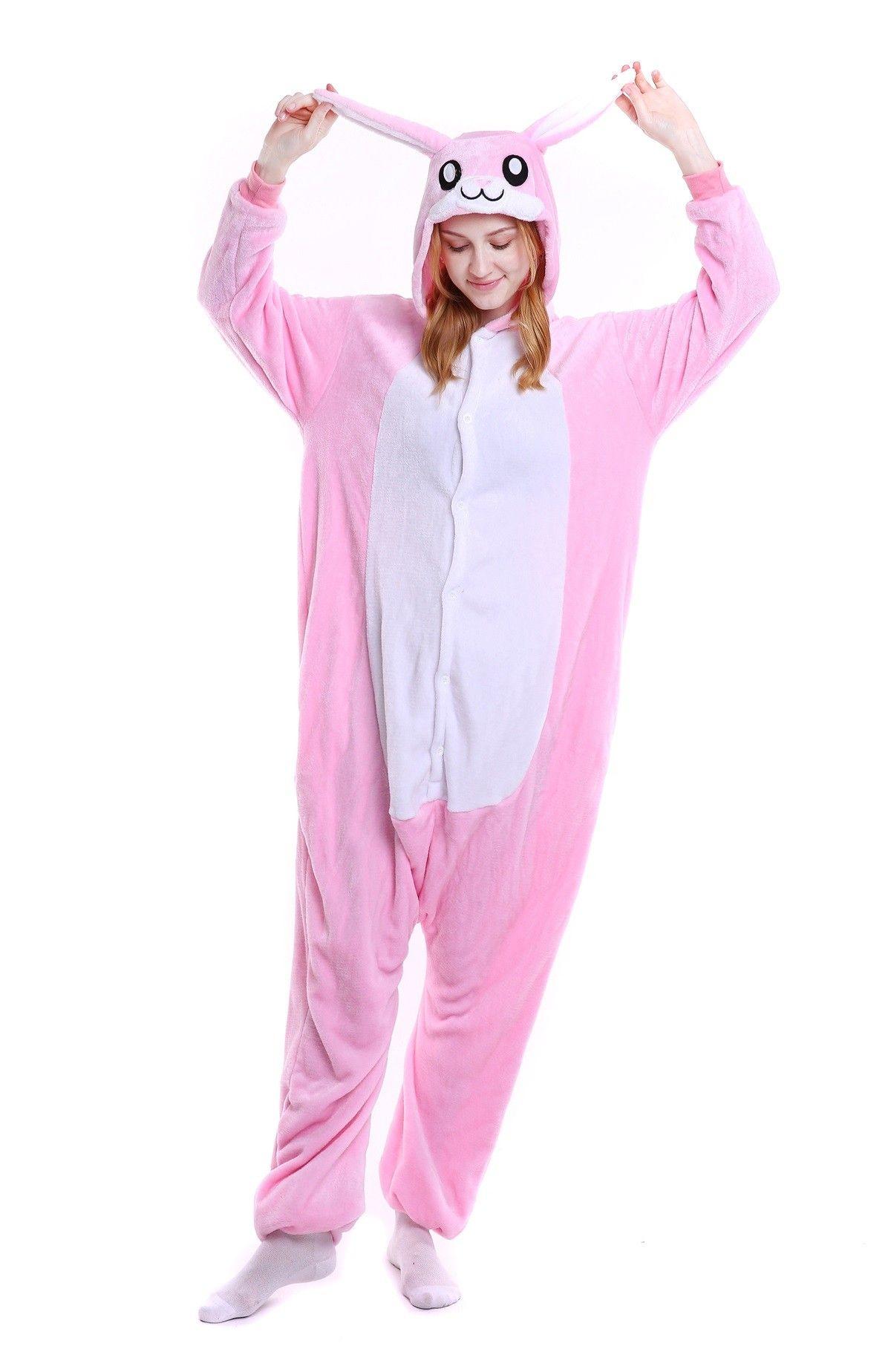 fb212604f kigurumi pink Rabbit onesies animal pajamas for adults