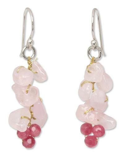 Handmade Beaded Rose Quartz Earrings - Afternoon Pink   NOVICA
