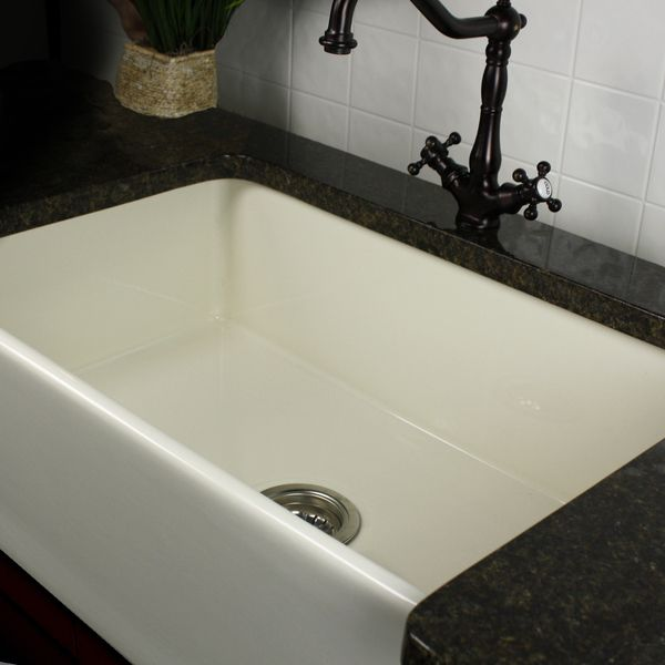 highpoint collection 30 inch bisque fireclay farmhouse kitchen sink with grid and drain highpoint collection 30 inch bisque fireclay farmhouse kitchen      rh   pinterest com