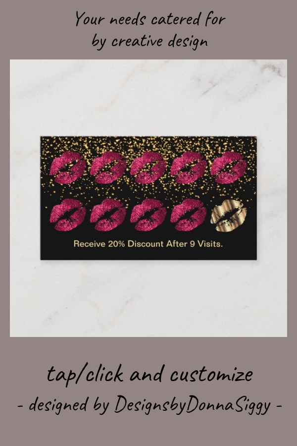 loyalty punch card  hot pink glitter and gold  zazzle