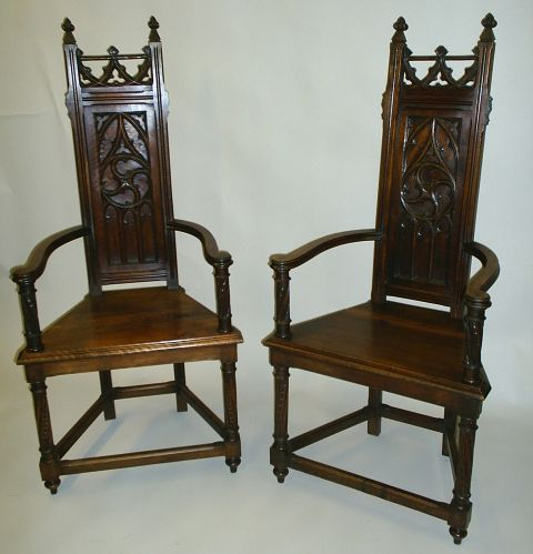 Pair of Gothic Revival caquetoires or gossip chairs. Ca1890 France. - Pair Of Gothic Revival Caquetoires Or Gossip Chairs. Ca1890 France