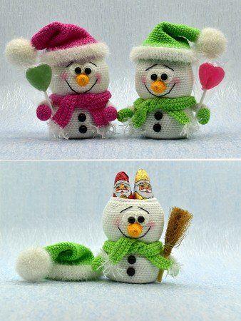 Häkelanleitung - Süße Schneemänner - befüllbar, Geschenkidee, Adventskalender #menscrochetedhats