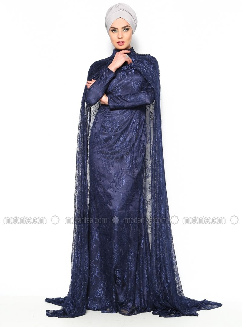 Cape Dress Navy Blue Muslim Evening Dresses Modanisa