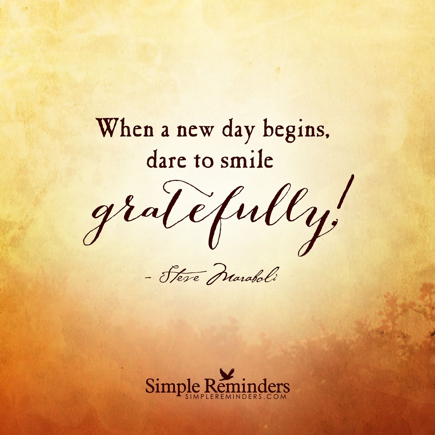 New Day Quotes When A New Day Begins Dare To Smile Gratefully  Steve Maraboli