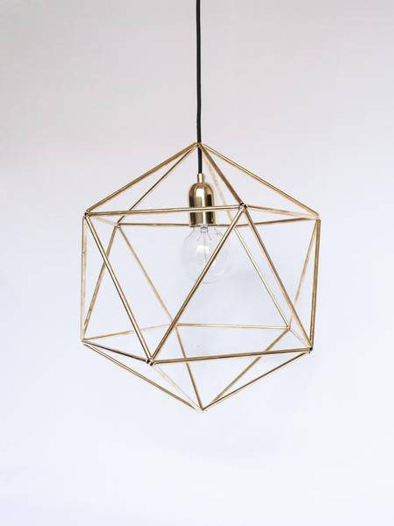 Geometric Brass Lamp Unique Pendant Lamp Minimalist Lamp Gold