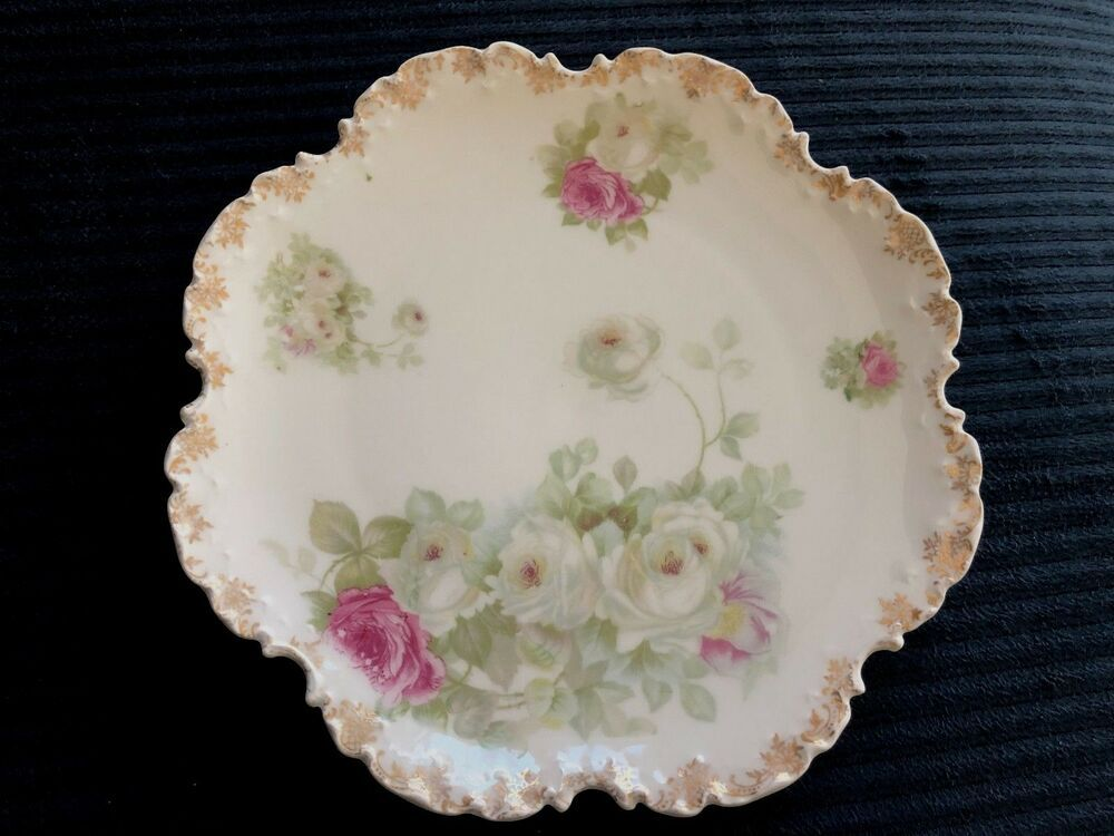 R C Monbijou Ruffled Edge VintageAntique Hand Painted Serving Dish Rosenthal