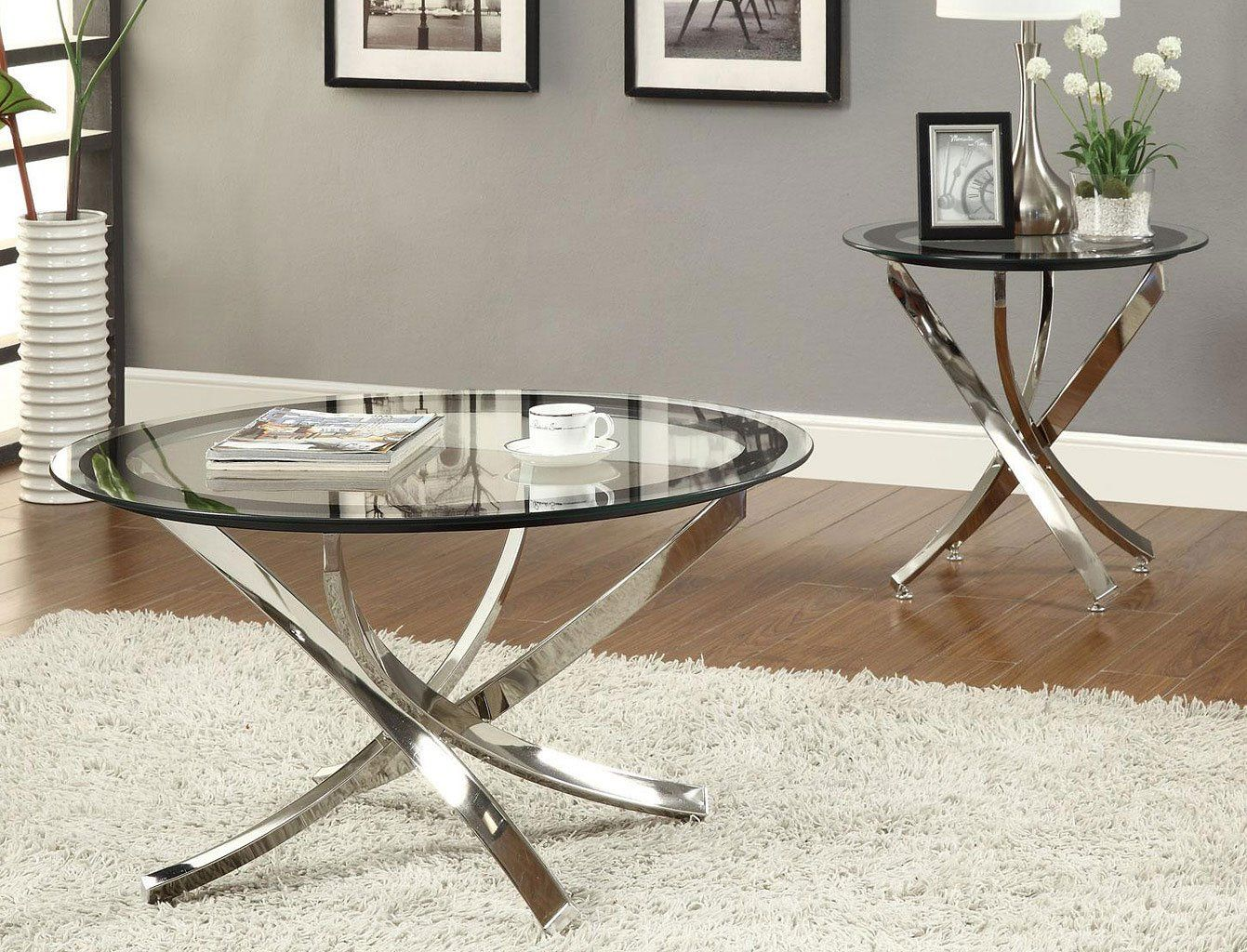 Curvaceous Base Occasional Table Set Coffee Table End Table Set Contemporary Coffee Table Contemporary End Tables