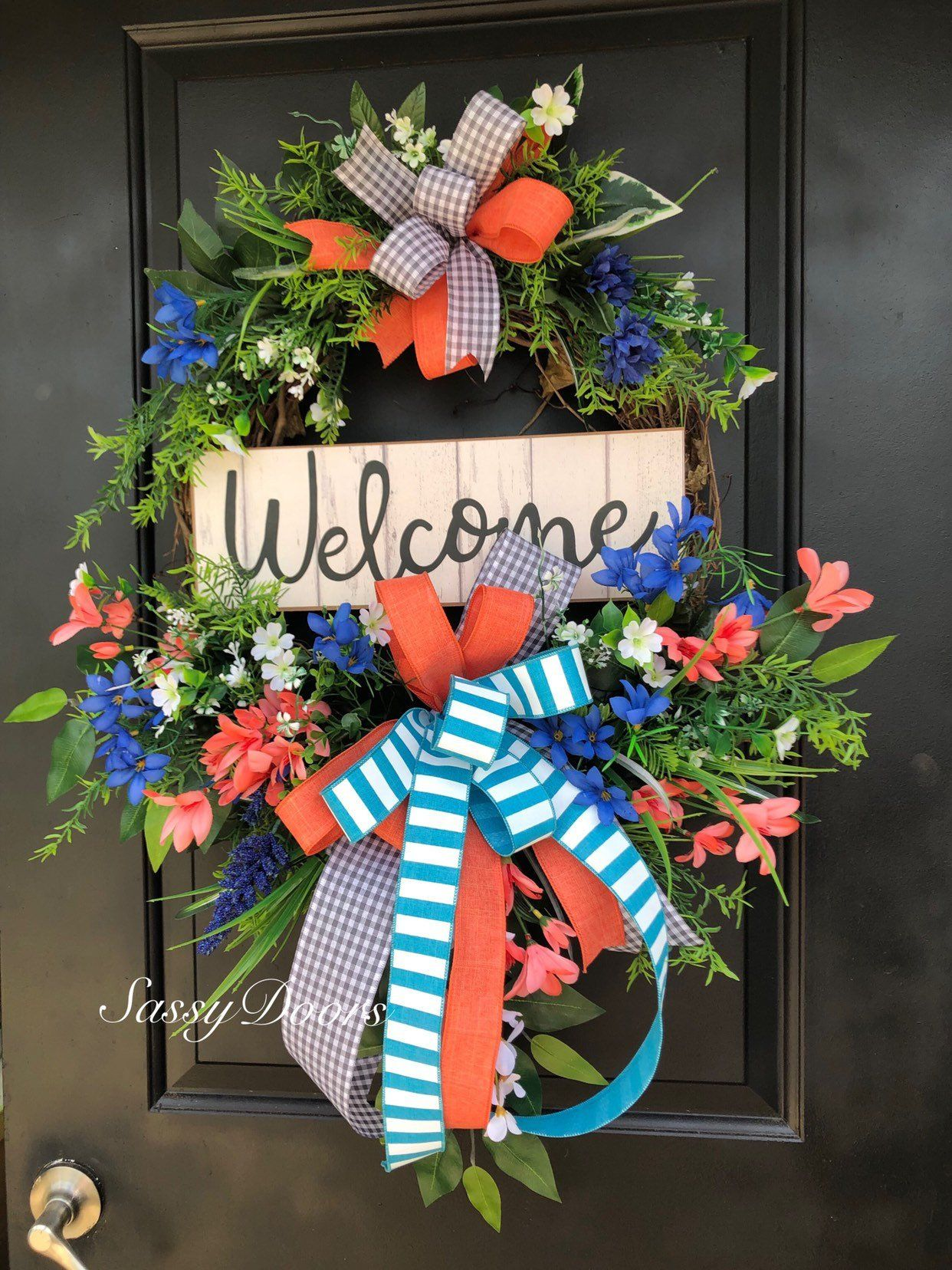 Photo of Spring wreath, hydrangea wreaths, wreath for the front door, grapevine wreath, cheeky door wreath, summer door wreath, coastal wreaths