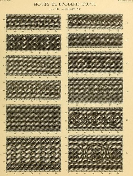 """Coptic embroidery - from the public domain book, """"Motifs de broderie copte (1900)."""""""