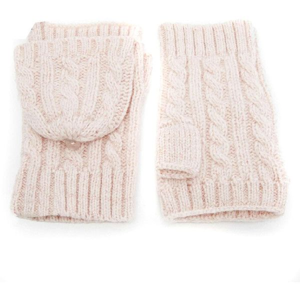 Pink Cable Knit Fingerless Converter Gloves ($20) ❤ liked on Polyvore featuring accessories, gloves, fingerless gloves, convertible gloves, convertible fingerless gloves, cable knit gloves i pink gloves