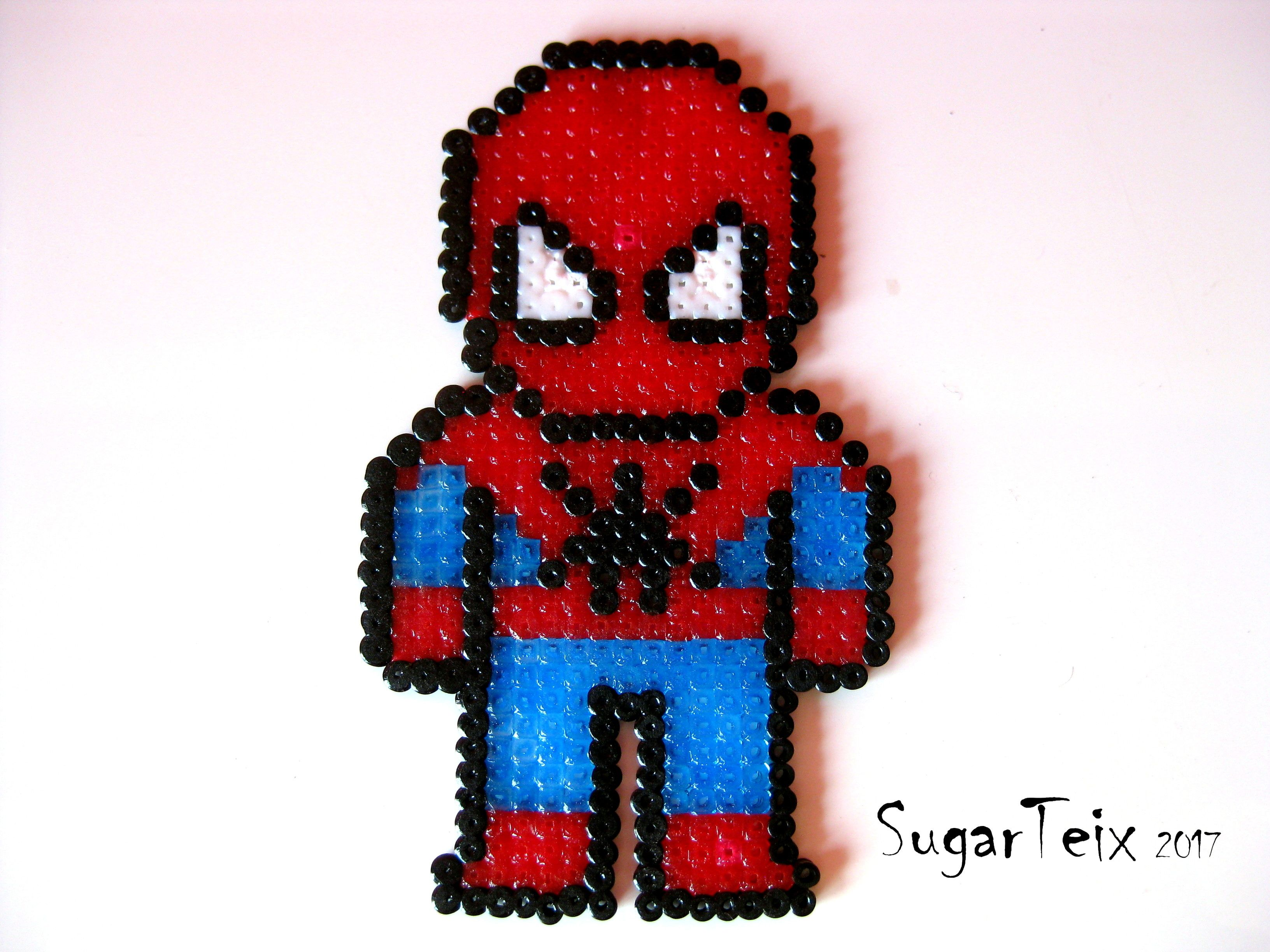 Hama Beads Spiderman: #spiderman #hombrearaña #hama #hamabeads #pyssla
