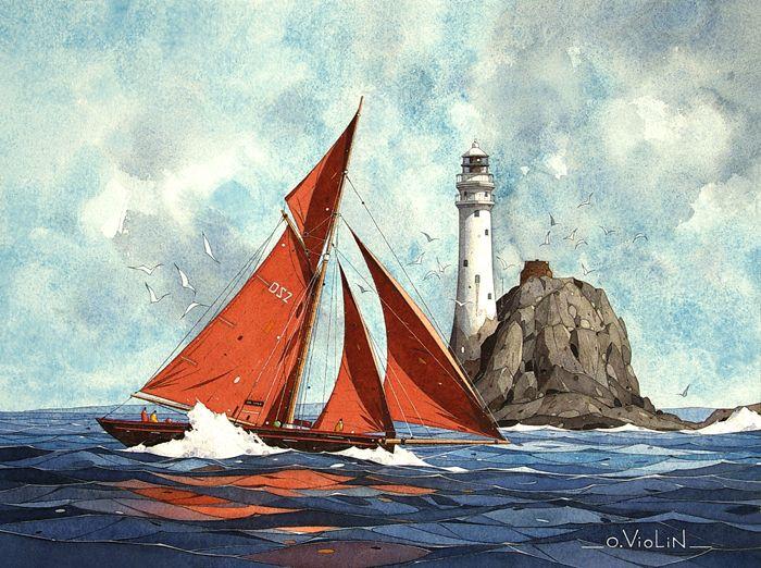 Aquarelle dessin paysage marine voilier pin up chaton bretagne bateaux pinterest dessin - Voilier dessin ...