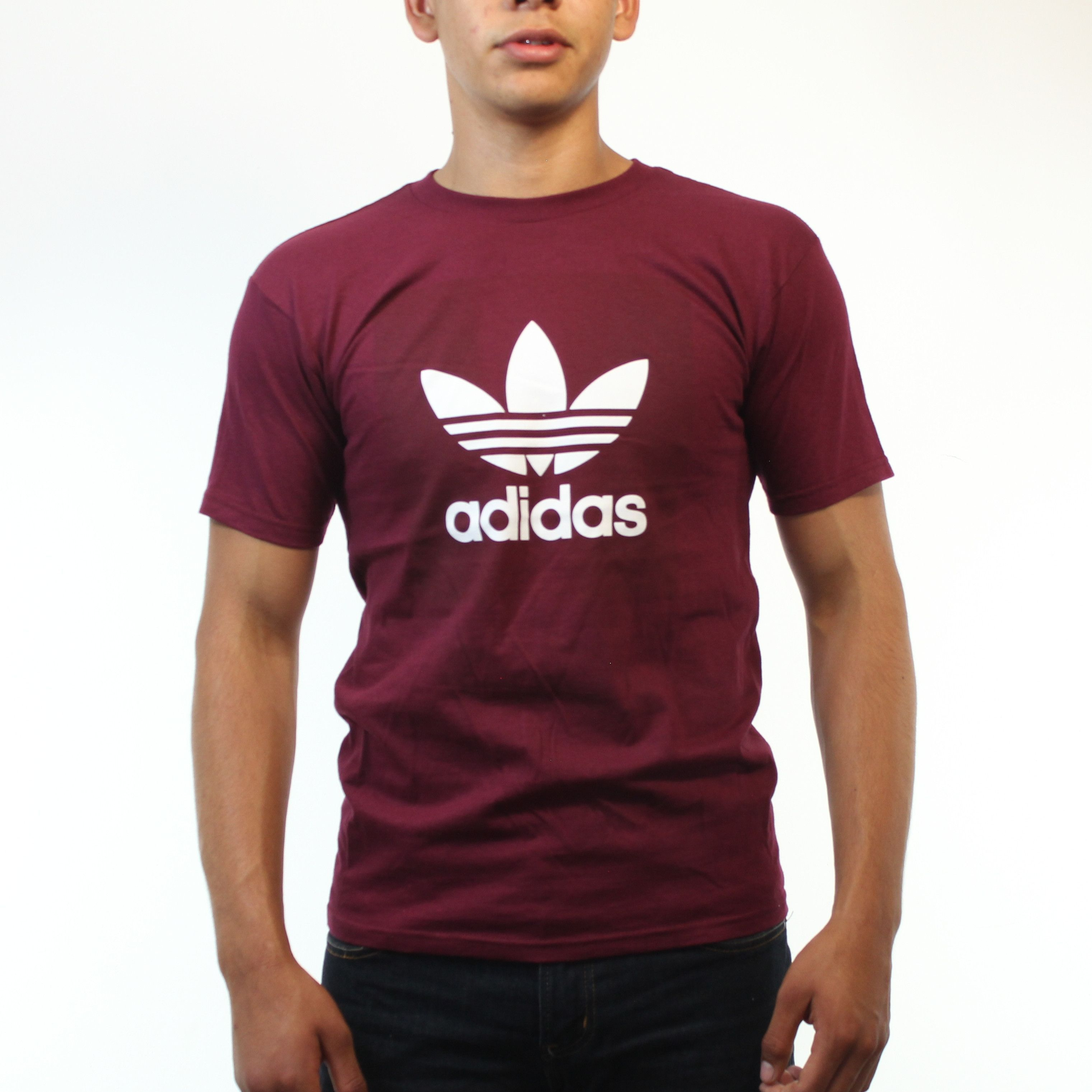 f69b9395 Adidas Classic Logo White Color Trefoil Men's Burgundy T-shirt ...