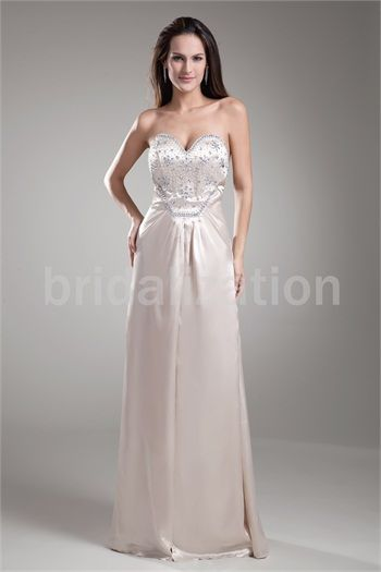 Beige Floor-Length Silk-like Satin Sweetheart Special Occasion Prom Dresses