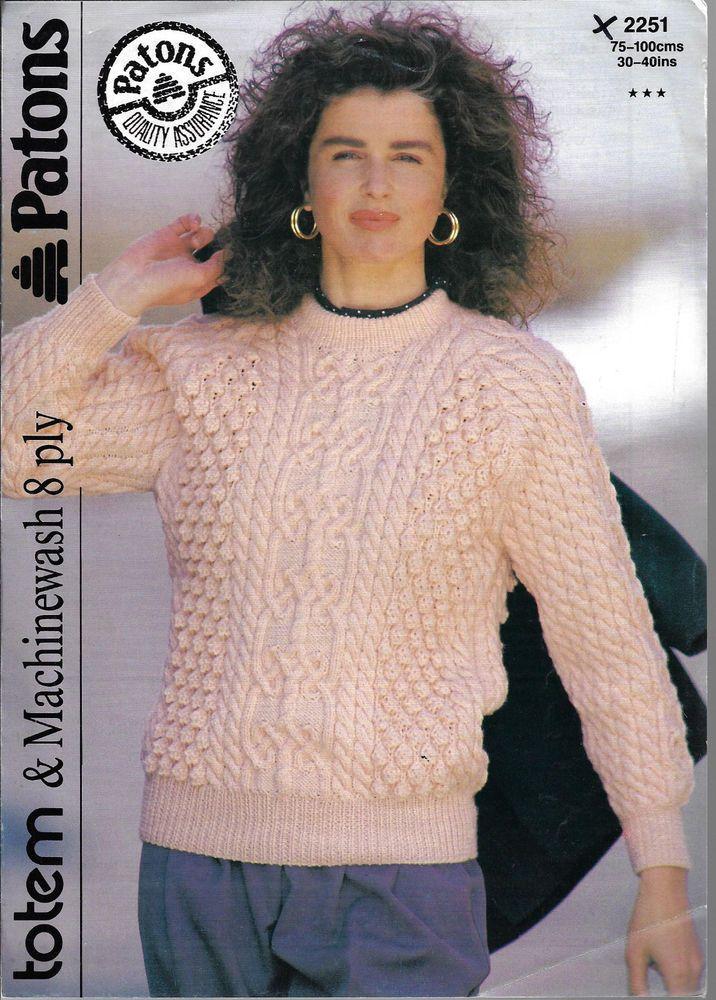 Women\'s Cable Aran Sweater Patons # 2251 knitting pattern 8 ply yarn ...