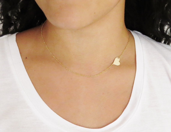 Gold Side Heart Necklace Back by popular demand An asymmetrical
