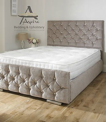 Monoco Diamond Fabric Upholstered Bed Frame Storage 4 6 Double 5ft