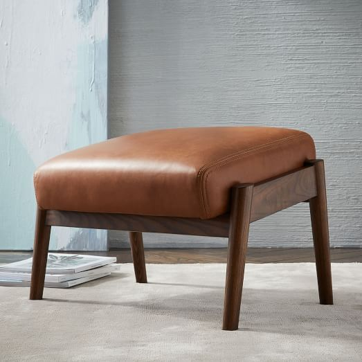 Mid Century Show Wood Leather Ottoman West Elm Modern Home