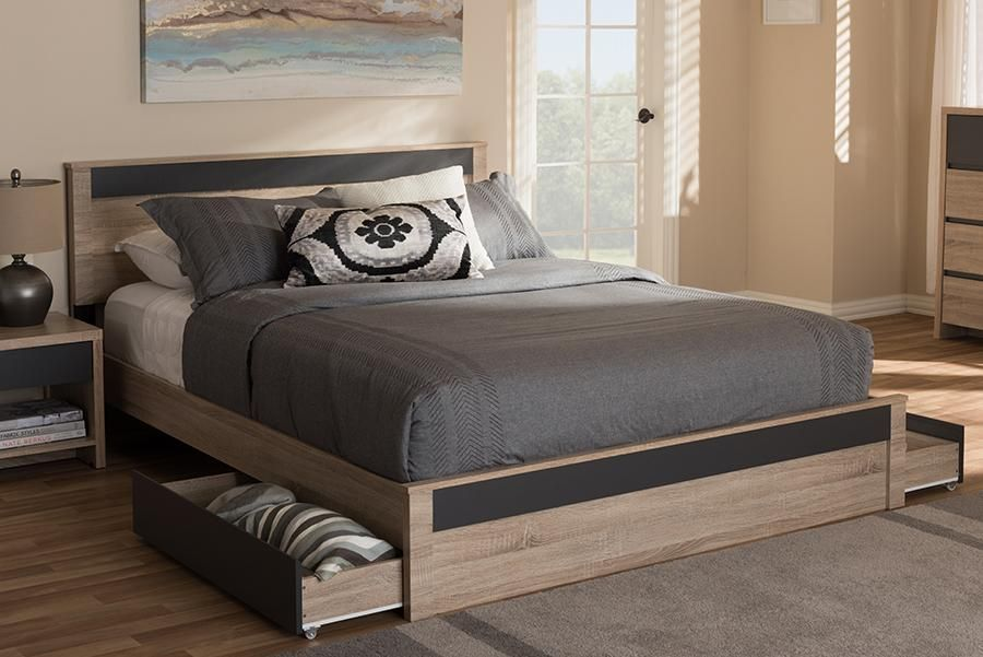 Baxton Studio Jamie Modern And Contemporary Two Tone Oak And Grey Wood Queen 2 Drawer Queen Size Storage Platform Bed In 2020 Platform Bed Queen Size Platform Bed
