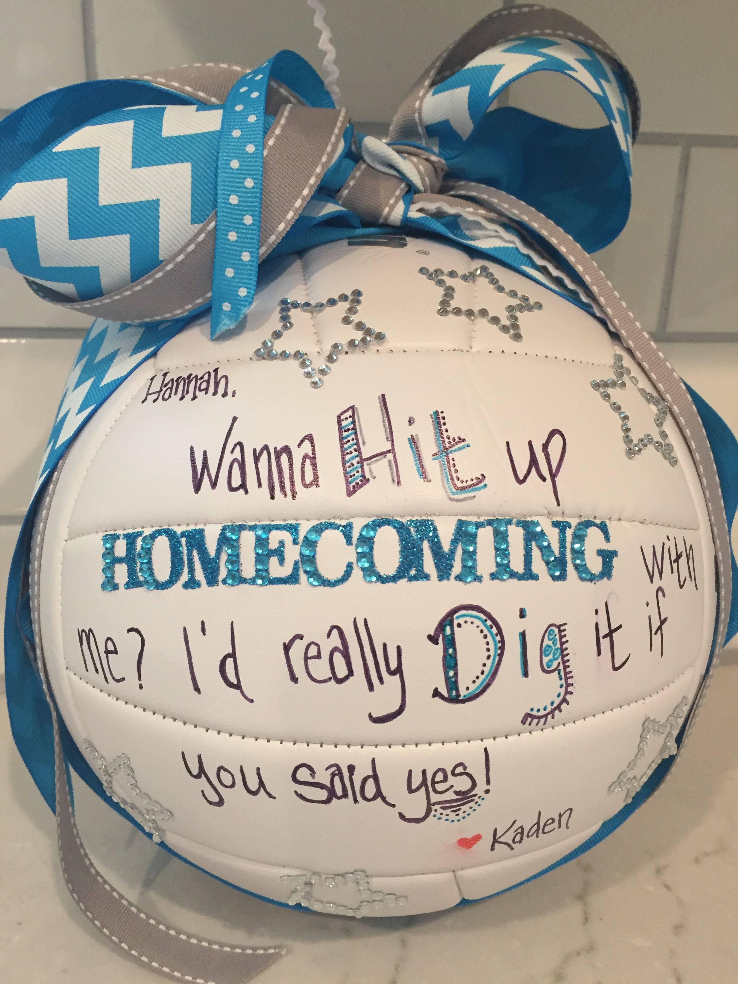Homecoming Proposal With Volleyball Theme Homecoming Proposal Cute Homecoming Proposals Cute Prom Proposals