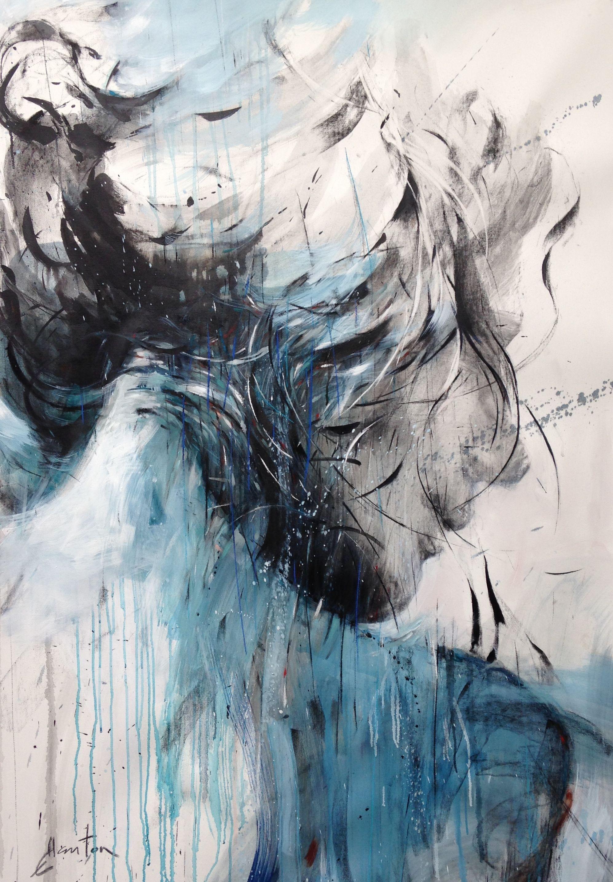 Ewa hauton 150x140cm oilpainting canvas blue face