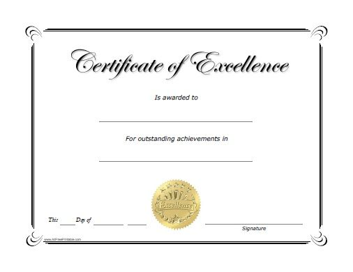 Free Printable Excellence Award Certificate salote Pinterest