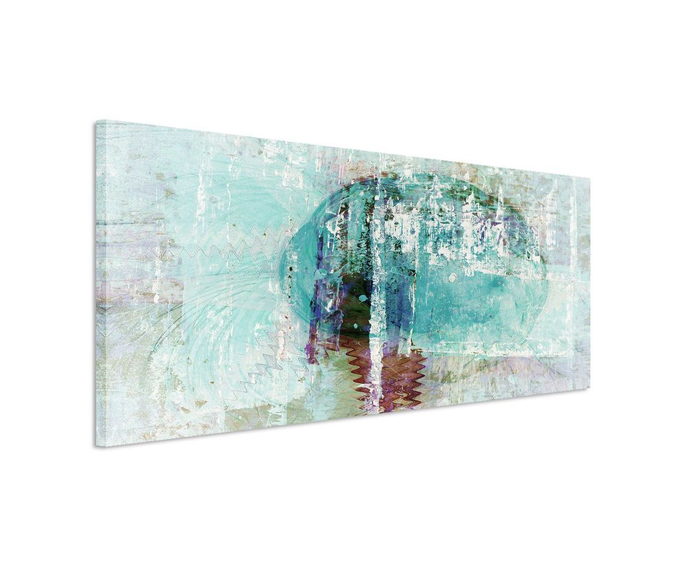 Details zu 150x50cm Panoramabild Paul Sinus Art Abstrakt türkis ...