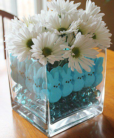 10 adorable diy dollar store spring crafts dollar stores easter marshmallow peeps craft easter centerpiece great idea with any holiday peep negle Choice Image