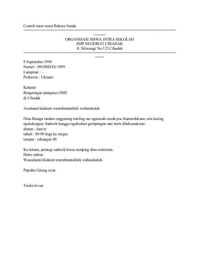 Resmi Bahasa Sunda Osis Bahasa Surat Sekolah