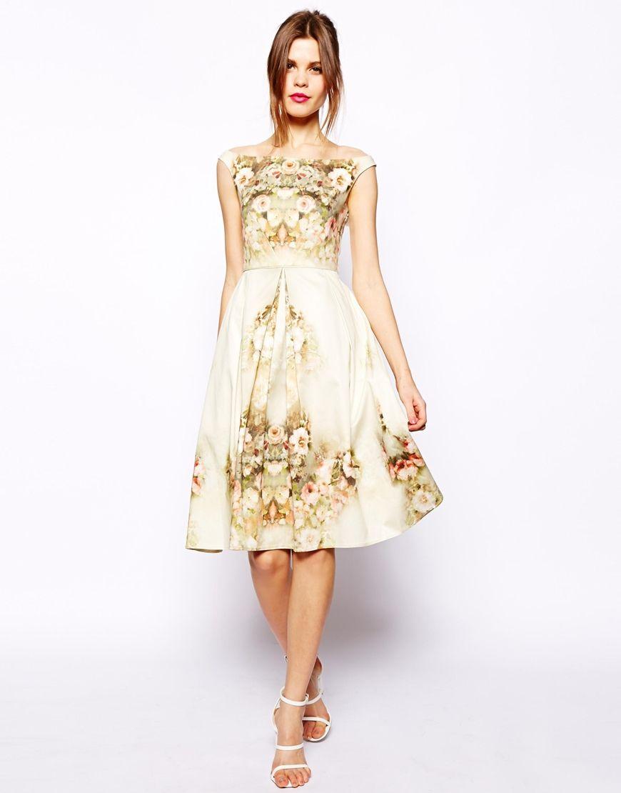 ASOS Vintage Floral Midi Bardot Dress | To wear | Pinterest
