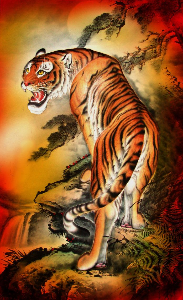 Asian Tiger By Tempoyaker Jpg 697 1145 Tiger Tattoo Tiger Painting Tiger Art