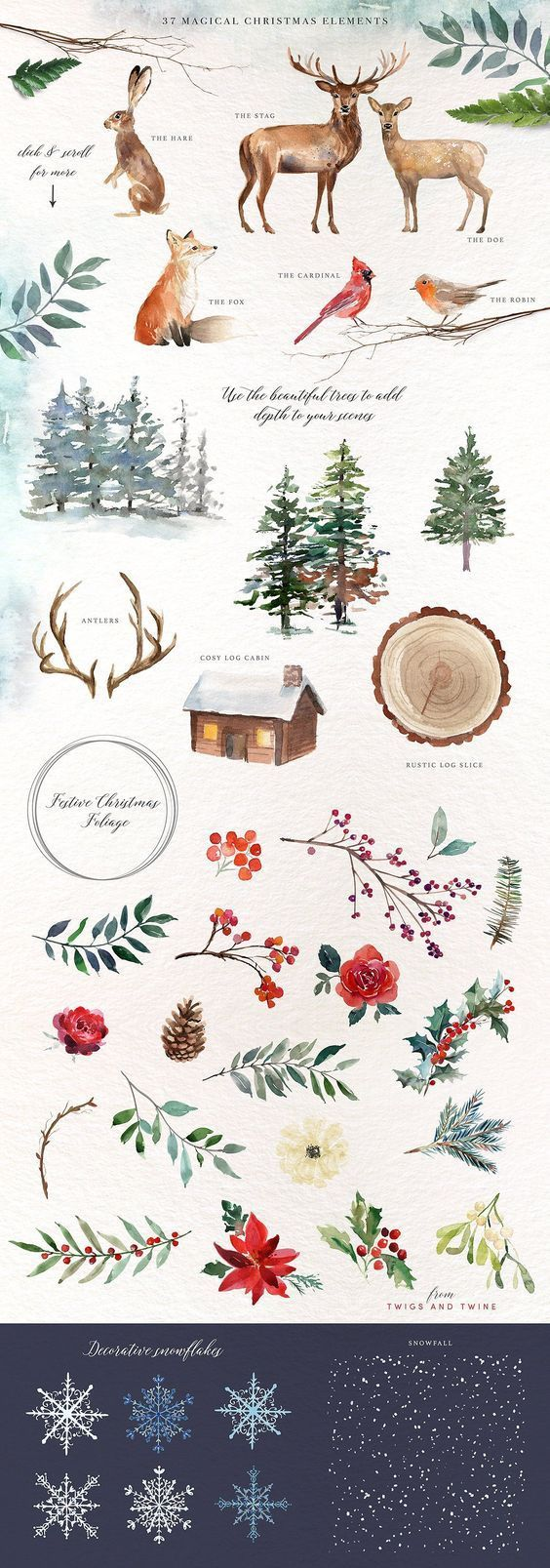 Photo of A Woodland Christmas Graphic Set by Twigs and Twine on Creative Market