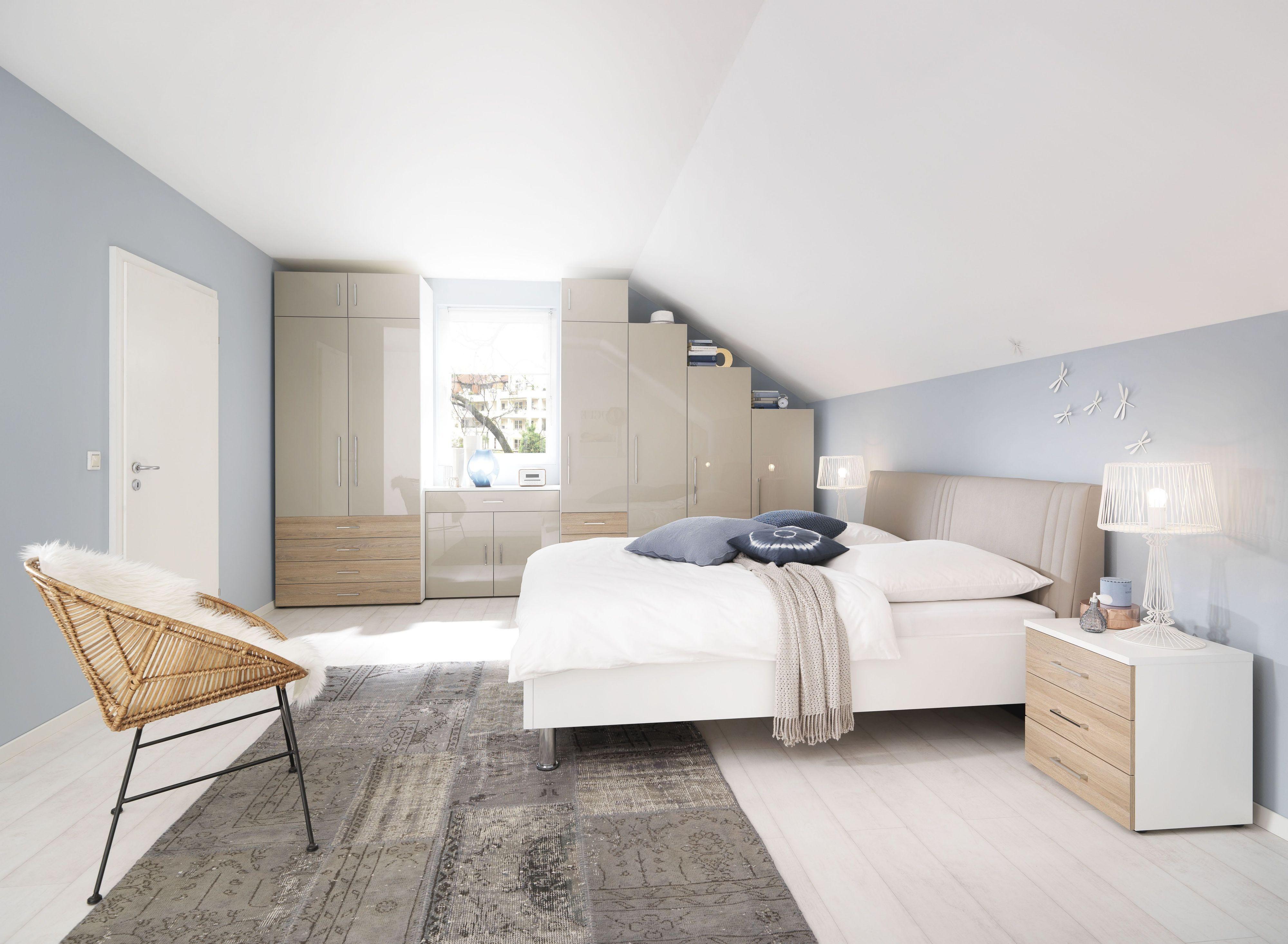 Schlafzimmer Komplett Alpinweiss Front Sandgrau Hochglanz Lackiert ...