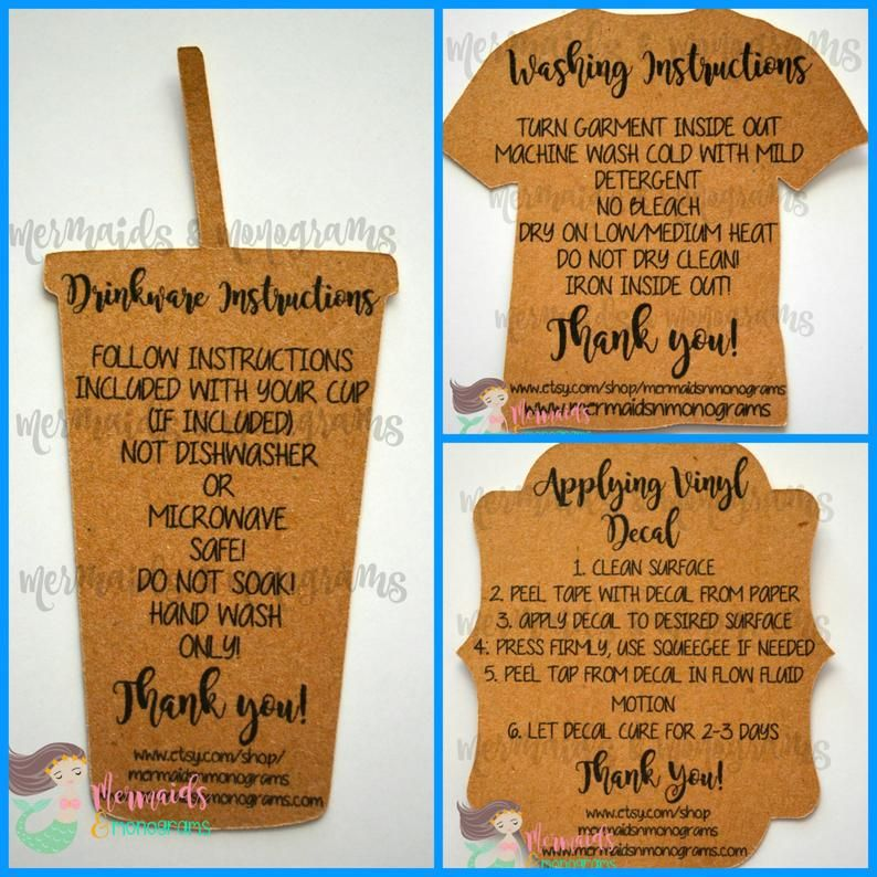 Care instructions care cards decals drinkware clothing