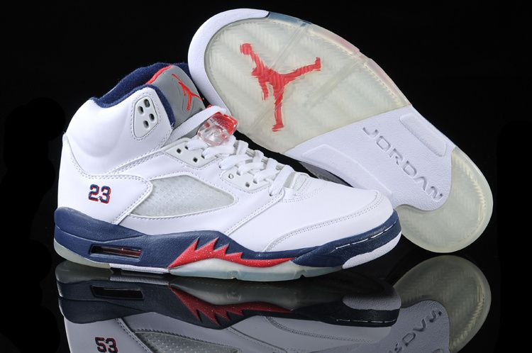 dc032cbe094e34 Air Jordan 5 Retro White Red Blue