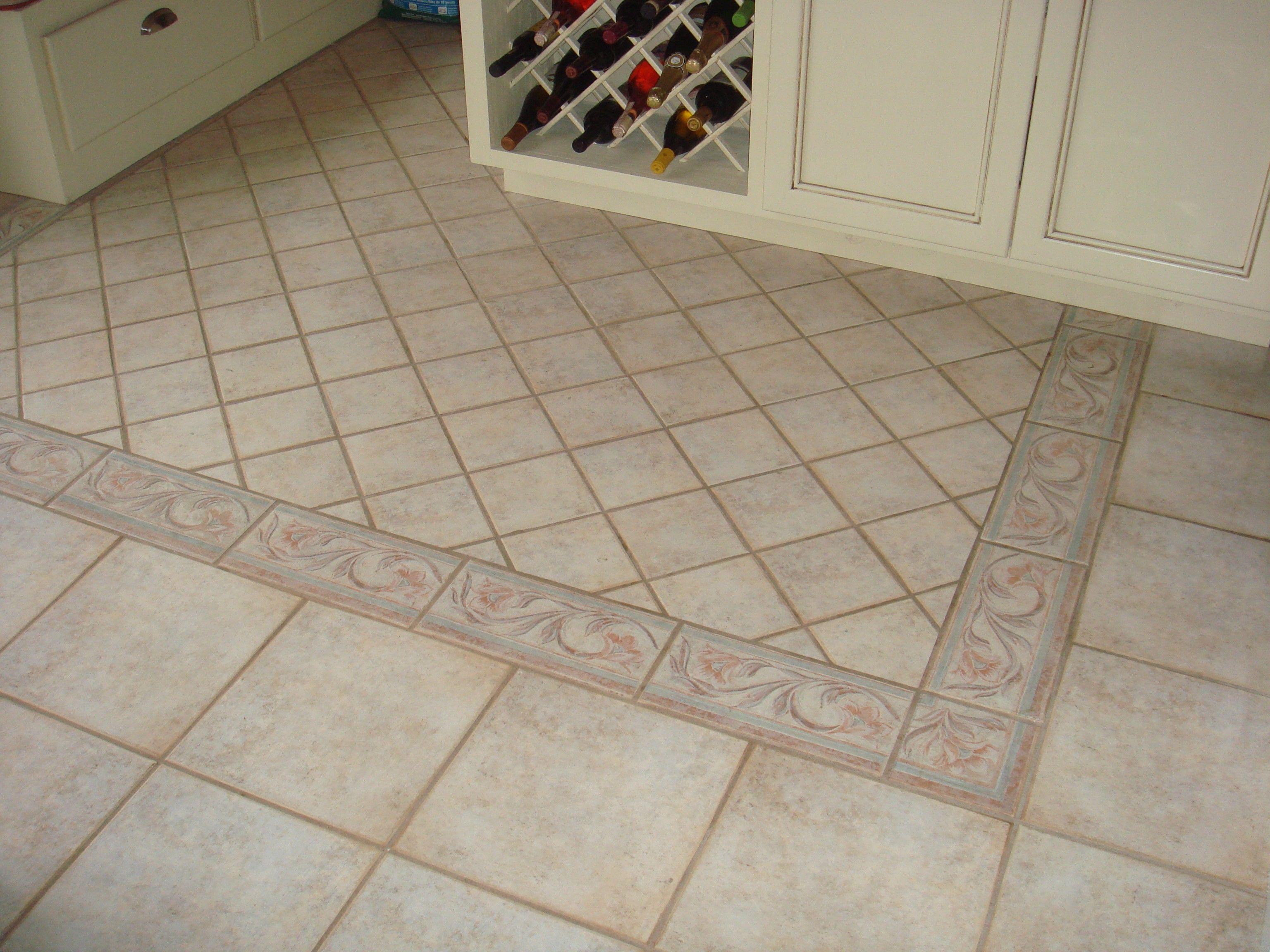 Wonderfull Beige Motive Modern Design Kitchen Flooring Ideas